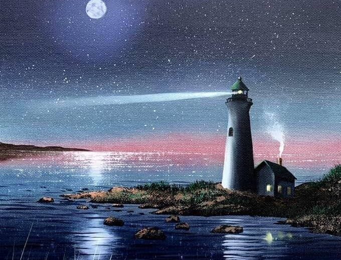 Painting of a lighthouse shining into the night