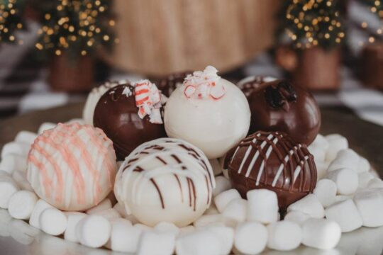 Hot chocolate mix bombs, laying on marshmellows 2