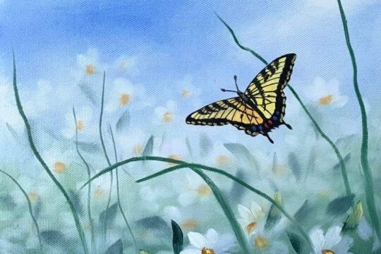 Painting of a butterfly flying through a bushel of flowers