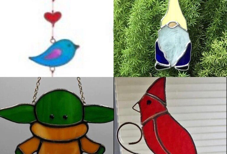 Colorful stained glass ornaments