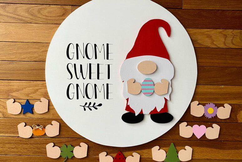 Gnome Sweet Gnome, Seasonal Gnome Door Hanger