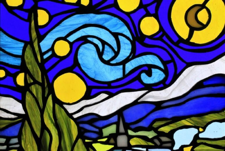 """Vincent van Gogh's """"The Starry Night"""" in the form of stained glass art"""