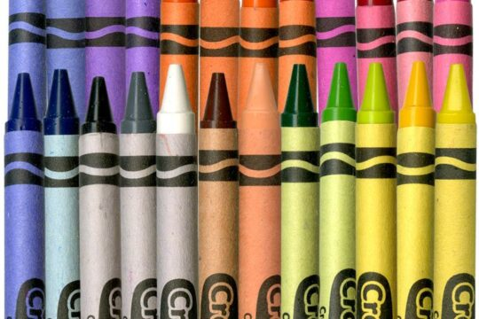 Picture of all of the colorful crayons lined up