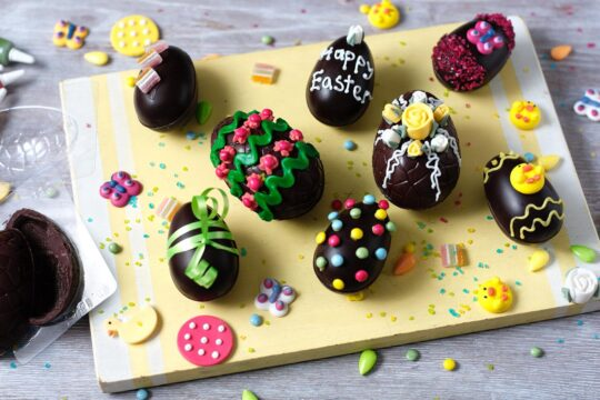 Home-made decorated chocolate eggs
