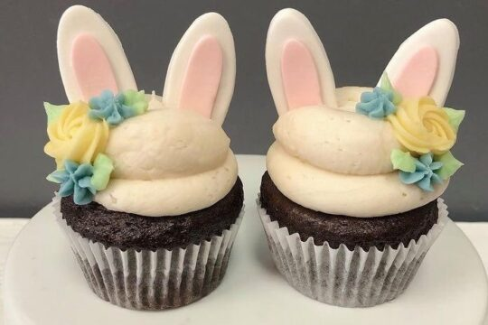 Cupcakes decorated to look like bunnies for Easter