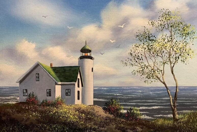 Painting of a light house by the water with seagulls flying by