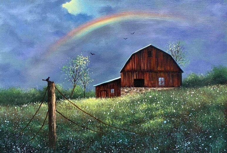 Painting of a rainbow going over a red barn in a field