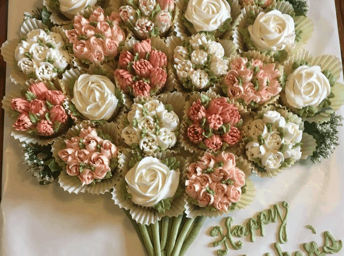Cupcakes decorated to look like a bouquet of flowers for Mother's Day